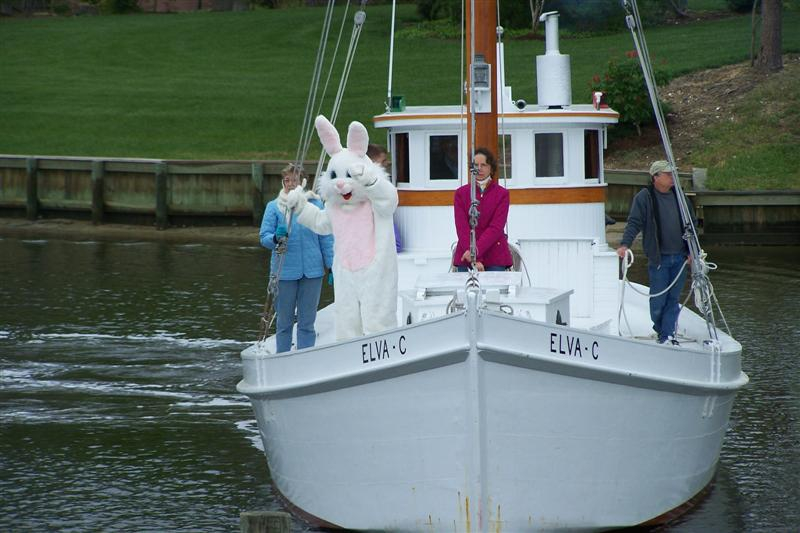 easter bunny on a boat
